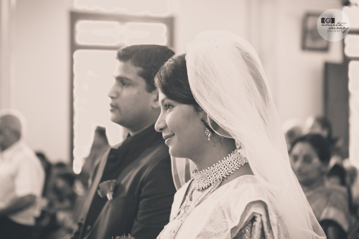 christian couple during wedding in church