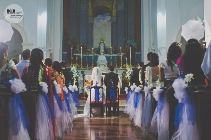 couple at christian wedding in sacred heart cathedral church