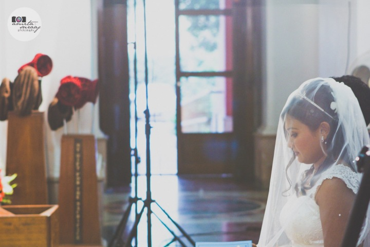 bride at christian wedding in sacred heart cathedral church