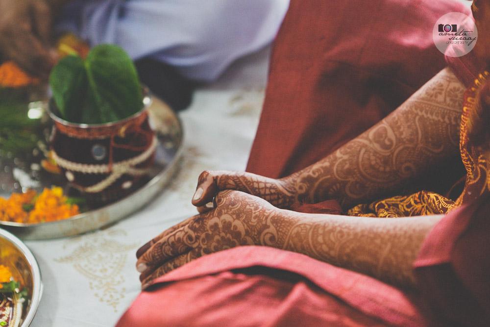 hindu bride at haldi ceremony