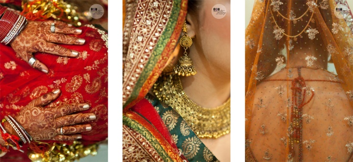 indian bride jewellery and lehenga detials