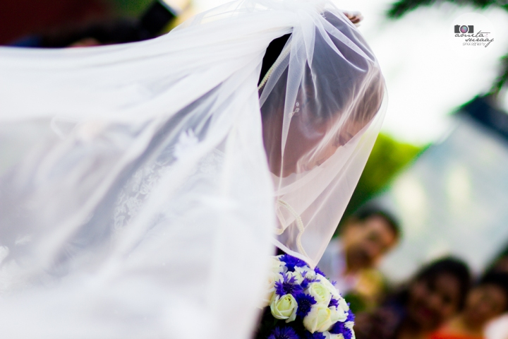 bride and veil at church wedding in delhi