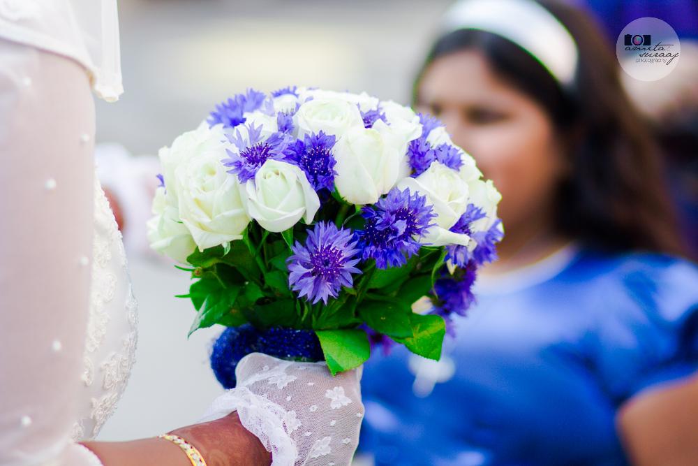 bride and bouquet at church wedding in delhi