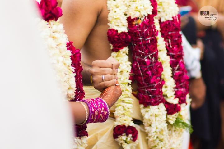 bride and groom at hindu tamil wedding