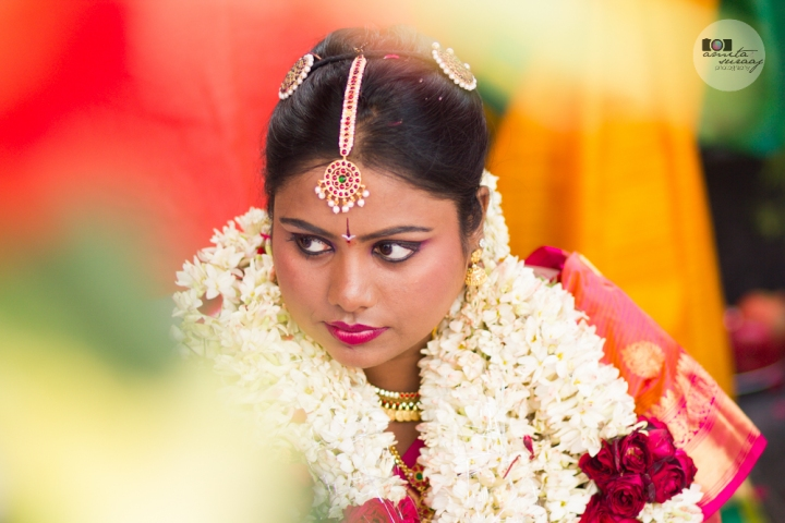 bride at hindu tamil wedding